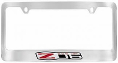 Corvette License Plate Frame - Chrome w/ Black Corvette Lettering C6 Z06 Emblem (06-13 C6 Z06)