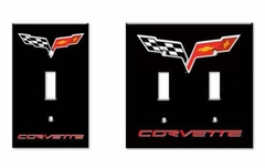 Corvette Light Switch Plate Covers with C6 Logo (05-12 C6)