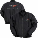 Corvette Men's Jacket Aviator Black with C6 Logo (05-12 C6)