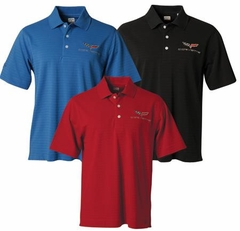 Corvette Men's Polo Shirt with C6 Logo Stripe Textured by Callaway Performance - Black (05-12 C6)