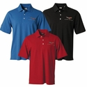 Corvette Men's Polo Shirt with C6 Logo Stripe Textured by Callaway Performance - Blue (05-12 C6)