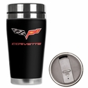 Corvette - Neoprene Wetsuit Travel Mug - C6 Flags & Corvette Script Logo : 2005-2013 C6 - Mugzie gm152