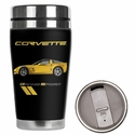 Corvette - Neoprene Wetsuit Travel Mug - C6 Grand Sport Logo & Yellow GS Car : 2005-2013 C6 Grand Sport - Mugzie gm156