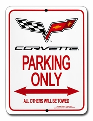 "Corvette Parking Sign with C6 Emblem - 9""x12"" (05-12 C6)"