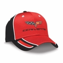 Corvette - Red & Black Pique Mesh - Embroidered C6 Logo Cap/Hat : 2005-2013 C6