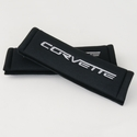 Corvette Seatbelt Harness Pads - Black with Silver Corvette (05-13 C6/Z06/ZR1/Grand Sport)