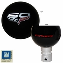 Corvette Shift Knob - Corvette Script & 60th Anniversary Emblem - GM Licensed : 2005-2013 C6 & Z06