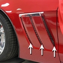 Corvette - Side Vent Grilles 6pc - Laser Mesh Stainless Steel : 2010-2012 C6 Grand Sport