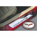 Corvette Sill Plates - Billet Aluminum Chrome with C6 Logo (05-13 C6)