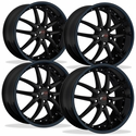 Corvette SR1 Performance Wheels - APEX Series (Set) : Gloss Black w/Blue Stripe