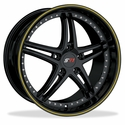 Corvette SR1 Performance Wheels - BULLET Series : Gloss Black w/Yellow Stripe