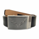 Corvette Stingray Leather Belt with Brushed Nickel Buckle : C7 Logo