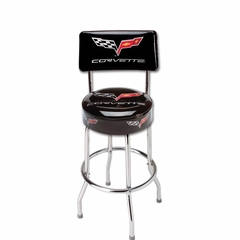 Corvette Stool with C6 Logo w/Back : EZ Comfort Stool