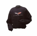 Corvette Sweatshirt Fleece Embroidered with C6 Logo - Black (05-12 C6)