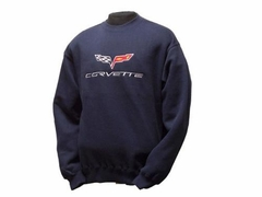 Corvette Sweatshirt Fleece Embroidered with C6 Logo - Navy Blue (05-13 C6)
