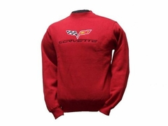 Corvette Sweatshirt Fleece Embroidered with C6 Logo - Red (05-12 C6)