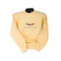 Corvette Sweatshirt Fleece Embroidered with C6 Logo - Yellow (05-12 C6)