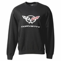 Corvette Sweatshirt Fleece with C5 Logo - Black (97-04 C5)