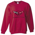 Corvette Sweatshirt Fleece with C5 Logo - Burgundy (97-04 C5)
