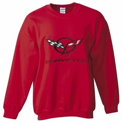 Corvette Sweatshirt Fleece with C5 Logo - Red (97-04 C5)