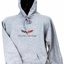 Corvette Sweatshirt Hooded Fleece Embroidered with C6 Logo - Ash (05-12 C6)