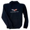 Corvette Sweatshirt Hooded Fleece Embroidered with C6 Logo - Black (05-13 C6)
