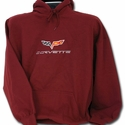 Corvette Sweatshirt Hooded Fleece Embroidered with C6 Logo - Maroon (05-12 C6)