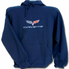 Corvette Sweatshirt Hooded Fleece Embroidered with C6 Logo - Navy Blue (05-12 C6)