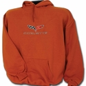 Corvette Sweatshirt Hooded Fleece Embroidered with C6 Logo - Orange (05-12 C6)