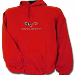 Corvette Sweatshirt Hooded Fleece Embroidered with C6 Logo - Red (05-12 C6)
