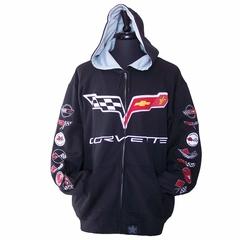 Corvette Sweatshirt Hoodie - Embroidered All Year Logo - Black : 1953-2013 C1, C2, C3, C4, C5 & C6