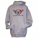 Corvette Sweatshirt Hoodie  with C5 Logo - Grey