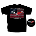 "Corvette T-Shirt - ""Born In The USA"" w/ C6 Crossed Flags: Black"