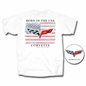 "Corvette T-Shirt - ""Born In The USA"" w/ C6 Crossed Flags: White"
