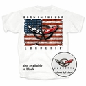 "Corvette T-Shirt - ""Born In the USA"" with C5 Logo - White"