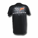 "Corvette T-Shirt - C6 Logo ""Splatter 6"" - Black"