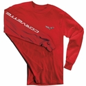 Corvette T-Shirt - C6 Logo w/Corvette Script on Sleeve - Red