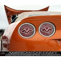 Corvette Taillight Grilles with Racing Flags - Polished Stainless Steel 4 Pc. : 2005-2013 C6,Z06,ZR1,Grand Sport