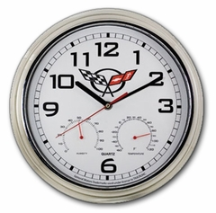Corvette Wall Clock / Weather Station with C5 Emblem (97-04 C5)