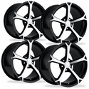Corvette Wheel - 2010 Grand Sport Style Reproduction (Set) - Black w/Machined Face