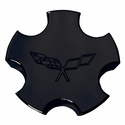 Corvette Wheel Center Cap - Black Embossed (00-04 C5)