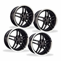 Corvette Wheel Package C6Z06 Style Deep Dish Wheels - Black w/Machined Lip