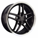 Corvette Wheel Package C6Z06 Style Deep Dish Wheels - Black w/Machined Lip (97-04 C5 / C5 Z06)