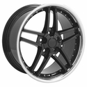 Corvette Wheel Package C6Z06 Style Deep Dish Wheels - Black w/Stainless Steel Lip and Rivets (97-04 C5 / C5 Z06)