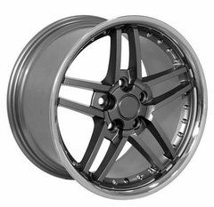 Corvette Wheel Package C6Z06 Style Deep Dish Wheels - Gunmetal w/Stainless Steel Lip and Rivets (05-12 C6)