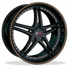 Corvette Wheels - SR1 Performance Wheels / BULLET Series (Set) - Gloss Black with Orange Pinstripe : 18x8.5/19x10 1997-2012 C5,C6