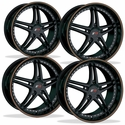 Corvette Wheels - SR1 Performance Wheels / BULLET Series (Set) - Gloss Black with Orange Pinstripe : 1997-2012 C5,C6