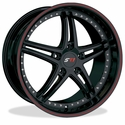 Corvette Wheels - SR1 Performance Wheels / BULLET Series (Set) - Gloss Black with Red Pinstripe : 18x8.5/19x10 1997-2012 C5,C6