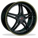 Corvette Wheels - SR1 Performance Wheels / BULLET Series (Set) - Gloss Black with Yellow Pinstripe : 18x8.5/19x10 1997-2012 C5,C6