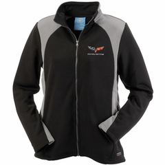 Corvette Women's Jacket Bonded with C6 Logo - Black/Gray (05-12 C6)